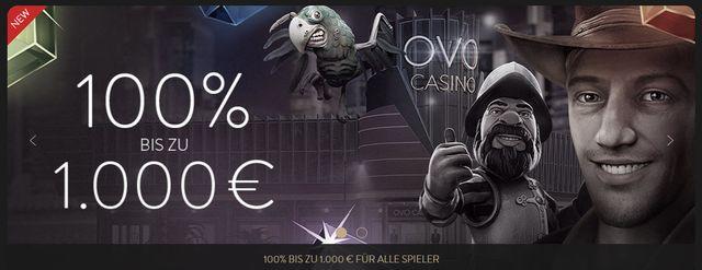 OVO Casino gibt 1000 Euro Startbonus und einen echten VIP Service
