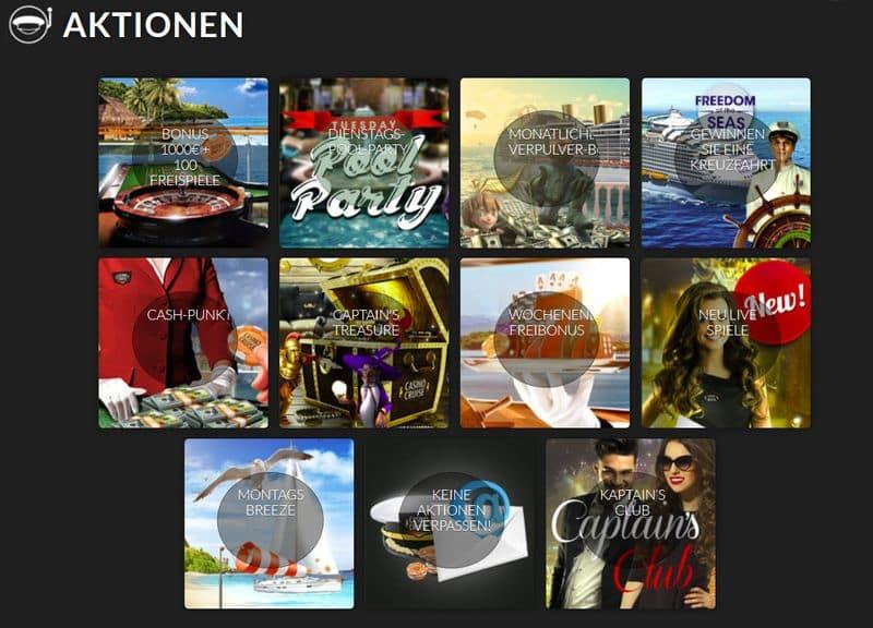 Aktionen im Casino Cruise