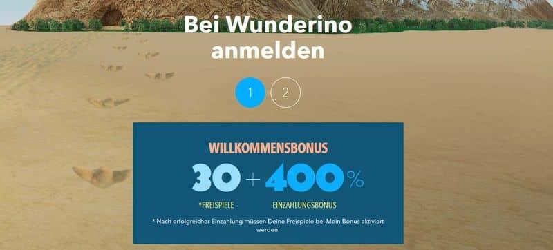 Wunderino Casino Anmeldung