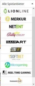 Spieleanbieter beim Lapalingo Casino