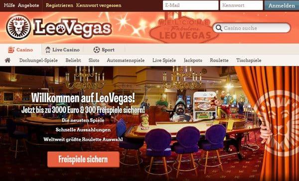 Startbildschirm im Leo Vegas Casino