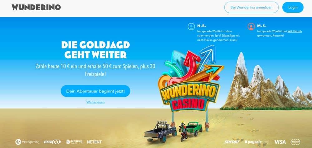 Startbildschirm Wunderino Casino