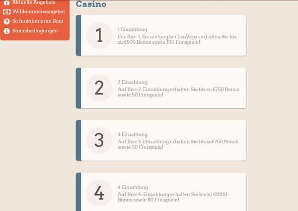 Einzahlungen im Leo Vegas Casino