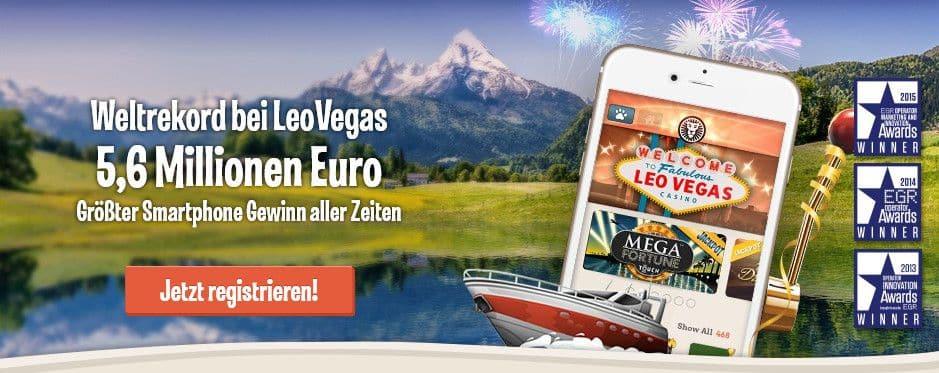 Leo Vegas Casino Startbildschirm beste online Casino für Mobilgeräte