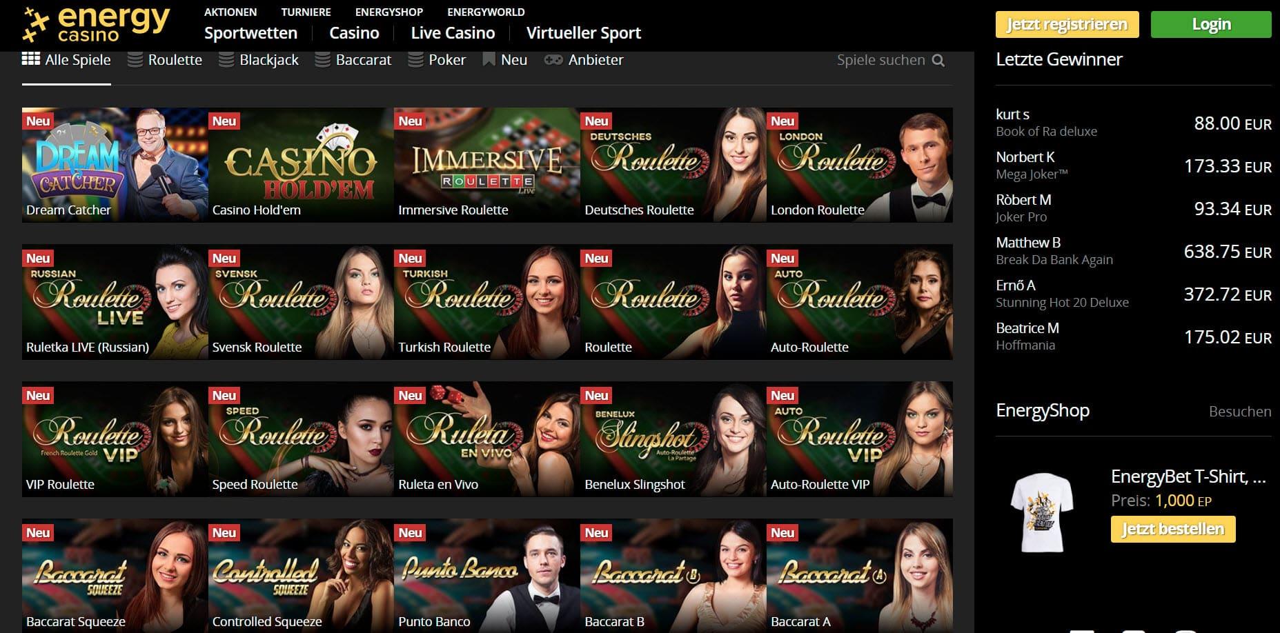 energy casino live casino