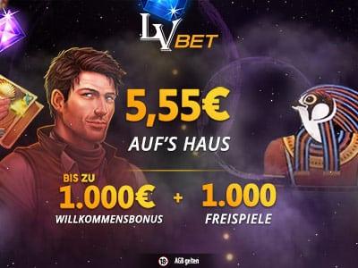 Das LVbet Casino nun auch mit 1000 Euro Startbonus und 5 Euro geschenkt