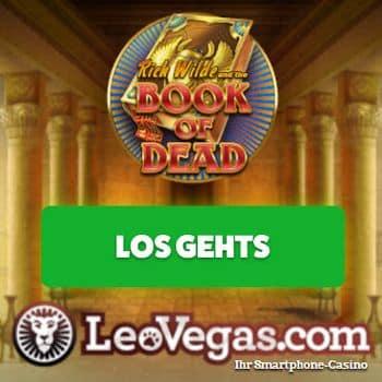 Startbildschirm Leo Vegas Casino Jetzt Bonus sichern Book of Dead