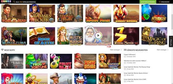 Spiele im Slotmillion online Casino 600
