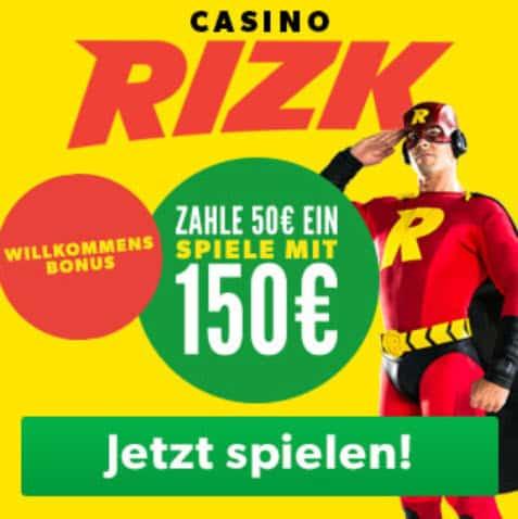 Startbildschirm RIZK online Casino echtgeld spielen Banner