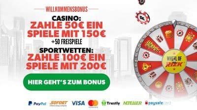 Startbonus Rizk online Casino bei der Anmeldung 400
