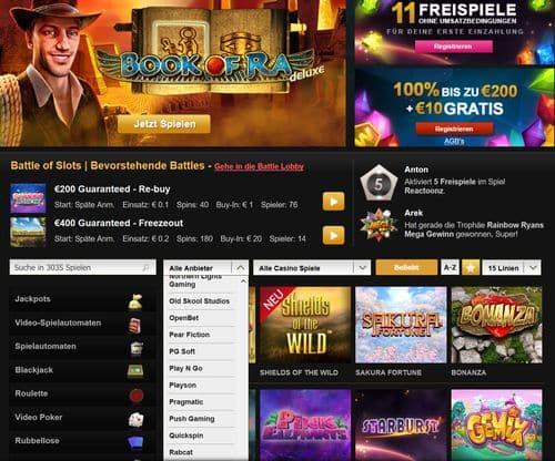 Videoslots Startbildschirm mit Novoline online Book of Ra 500