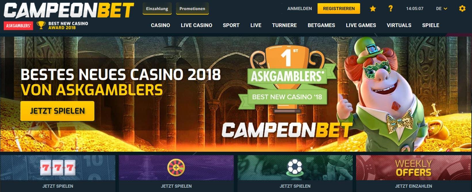 Campeonbet Casino Auszeichnung 2018 bestes Casino Startseite