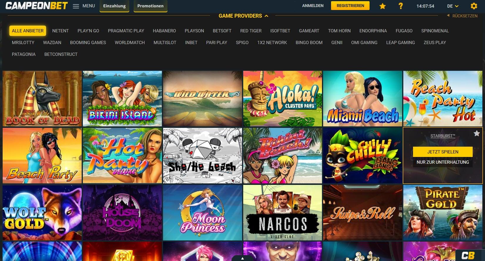 Campeonbet Casino Spiele und Casinospiele Anbieter
