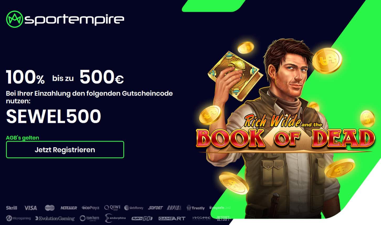 Sportempire Casino Startseiten und Bonus Book of Dead