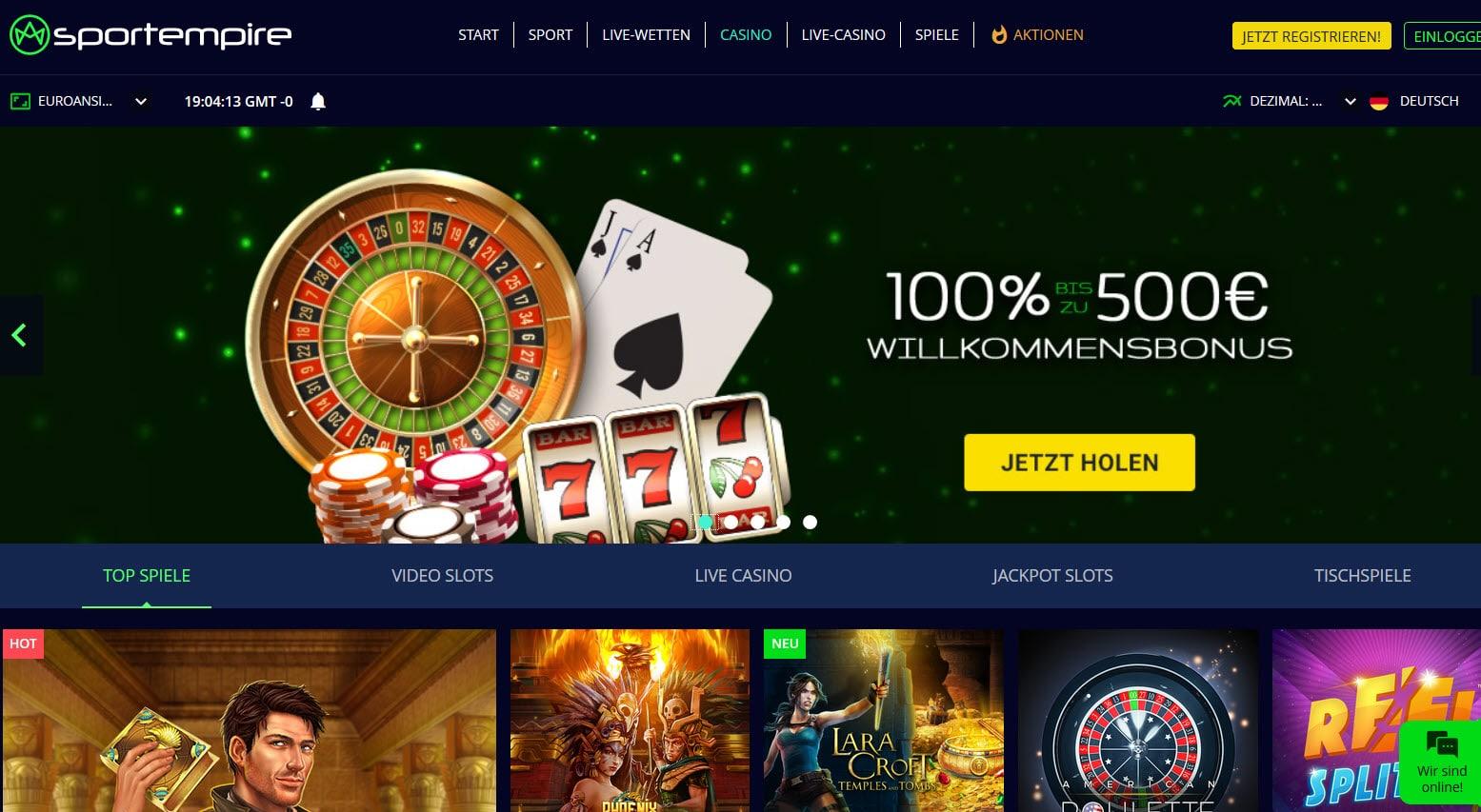 Sportempire Casino Startseiten und Bonus